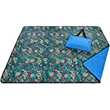 Roebury Beach Blanket Sand Proof & Outdoor Picnic Blanket - Water Resistant, Large Mat for Camping or Travel. Washable, Foldable, Easy Carry Compact Tote Bag (Green/Blue Plaid)