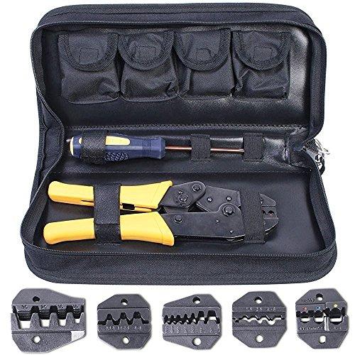 Amzdeal Crimpzange, Kabelschuhzange mit 5 wechselbaren Einsatzbacken und Ratschenfunktion für isolierte Verbinder (mit Tasche und Kreutzschlitz Schraubendreher) (Gelb)