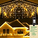 Christmas Lights Outdoor Decorations 400 LED 33ft 8 Modes Curtain Fairy String Light with 75 Drops, Clear Wire LED String Light Indoor Decor for Wedding Party Holiday Christmas Decorations Warm White