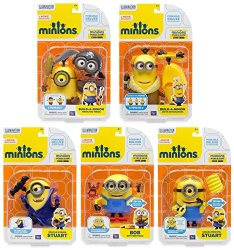 Minions Deluxe Action Figure (Collector Set of 5) Pirate & Cro Teddy Bear Bob-Dracula Stuart-Artic Kevin-Banana Munching Stuart Cartoon Animated Film Movie Merchandise Collectible