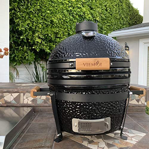 """Viemoi Kamado Grill MiniMax 16"""" Kamado Charcoal Grill Barbecue Cooking System Black with Stainless Steel Grid"""