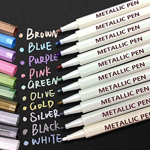 Metallic Marker Stifte, APOGO 10 Farben Metallic Stifte Metallischen Marker für DIY Fotoalbum, Gästebuch, Hochzeit, Glas, Kunststoff, Stein, Holz - Feiner Spitze (1mm)
