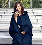 Ultimate Sports Wrap - Patented - The Only Wearable Weatherproof/Stadium/Picnic/Sports Blanket, Complete with Upper and Lower Zippers, Lined & Adjustable Hood and Inside Hand Warmers, 70' X 58'