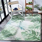 Safavieh Barbados Collection BAR590X Tropical Botanical Indoor/ Outdoor Area Rug, 6' 6' Square, Green/Teal