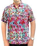 LA LEELA Funky Chemise Hawaïenne Manche-Courte Beachwear Floral Vintage Hommes Hawaiien Buttton Chemise à Manches Courtes vers Le Bas Plusieurs 3XL