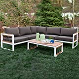 Walker Edison Harbor Modern 4 Piece Teak Wood and Metal Outdoor Modular Sectional with Knotted Rope Accents, Set of 4, White and Grey