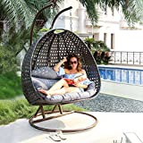 Island Gale Luxury 2 Person Wicker Swing Chair ((2 Person) X-Large, Charcoal Rattan/Charcoal Cushion) Frame Color: Bronze or Black Pending Availability.