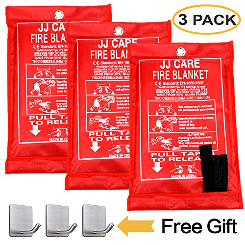 JJ CARE Fire Blanket (3 Pack) Fire Fighting Suppression Blanket Fiberglass Cloth for...