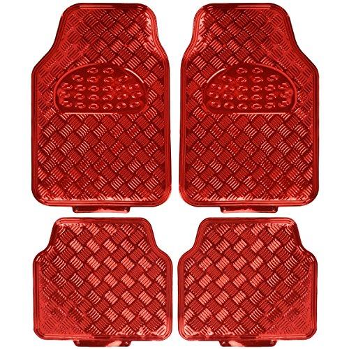 BDK Universal Fit 4-Piece Metallic Design Car Floor Mat - (Red) (MT-641-RD)