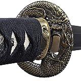 Handmade Sword - Stainless Steel Unsharpened Iaido Training Katana Sword, Handmade, Full Tang, Dragon Tsuba, Black Scabbard
