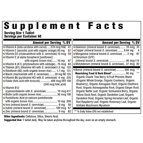 MegaFood, Women's One Daily, Daily Multivitamin and Mineral Dietary Supplement with Vitamins C, D, Folate and Iron, Non-GMO, Vegetarian, 60 Tablets (60 Servings) (FFP) 2