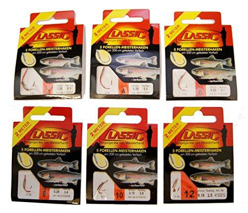 Sbirulino Forellenhaken Teighaken Sbirolinohaken 200cm Haken, Angelhaken mit Teigspirale, Forellenangeln mit Forellenpaste, Größe:6