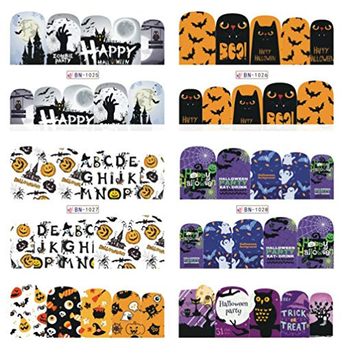 Lurrose 12 Sheets Halloween Nail Art Stickers Wraps Nail Strips Manicures Stickers for Girls Children