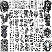 """💕【50 Sheets】--VANTATY 3D Temporary Tattoos For Men Women Kids Adults Girls Body Art Stickers Look Real! 【Click Our Store/brand Name To See More Fashion Designs】 💕【Size】--50 Sheets Temporary Tattoo Including 8 Sheets Large Size 21x15cm 7.8""""x5.9"""", 42 S..."""
