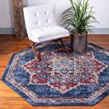 Unique Loom Utopia Collection Traditional Medallion Vintage Warm Tones Dark Blue Octagon Rug (7' 0 x 7' 0)