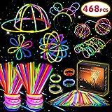 Kimimara 200 Bracelets Fluorescents Lumineux Glow, 200 Glow Sticks Kit Incluant 268 Connecteurs pour Faire des Colliers et des Bracelets (Couleurs Mélangées)