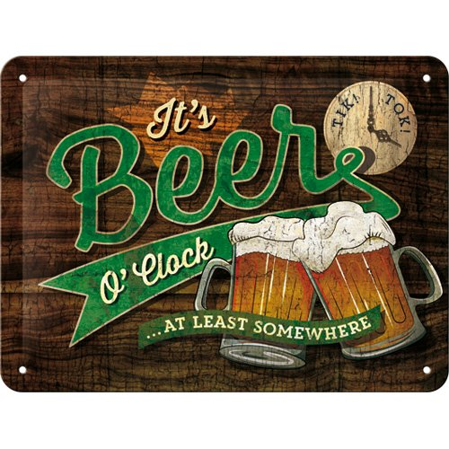 Nostalgic-Art Open Bar – Beer O\' Clock Glasses – Geschenk-Idee für Bier-Fans Retro Blechschild, aus Metall, Vintage-Design zur Dekoration, 15 x 20 cm