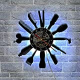 Barber Shop vinyl record murale horloge salon de beauté magasin de coiffure...