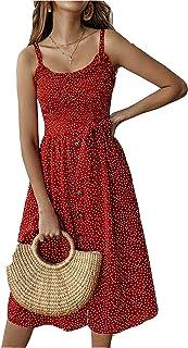 FEIYOUNG Womens Sexy Summer Boho Beach Dress Sexy Floral Casual Dresses