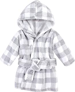Hudson Baby Unisex Baby Plush Animal Face Bathrobe, Gray Plaid, 0-9 Months