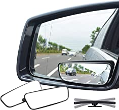 Ampper Rectangle Blind Spot Mirror, 360 Degree HD Glass and ABS Housing Convex Wide Angle..