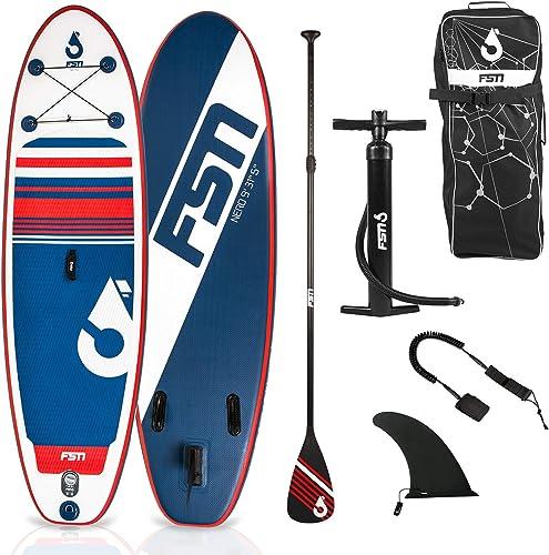 FSN Stand up Paddle Gonflable avec pagaie, Leash, Pompe, Anneaux de Kayak et Sac de Transport