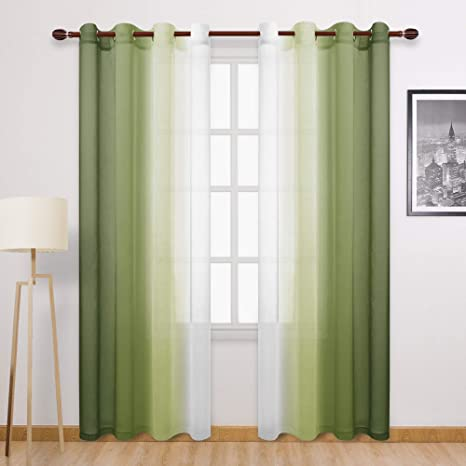 Amazon Com Dwcn Faux Linen Ombre Sheer Curtains Gradient Semi Voile Bedroom And Living Room Curtains Set Of 2 Grommet Top Window Curtain Panels 52 X 84 Inches Long Olive Green Furniture Decor