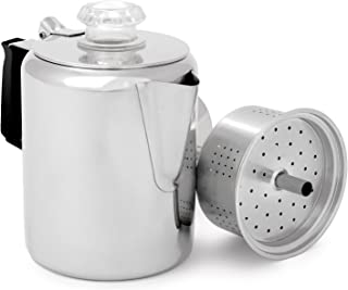 GSI Outdoors Glacier Stainless Steel Percolator Coffee Pot with Silicone Handle for..