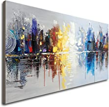 Large Hand Painted Abstract Reflection Cityscape Canvas Wall Art Modern Oil Painting..