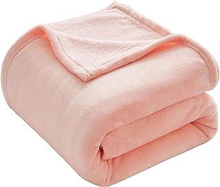 VEEYOO Flannel Fleece Blanket Queen Size – Pink Throw Blankets for Couch Warm..