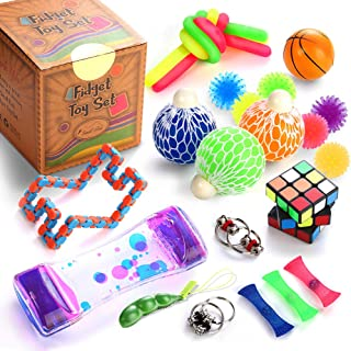 Sensory Fidget Toys Set, 25 Pcs., Stress Relief and Anti-Anxiety Tools Bundle for Kids..