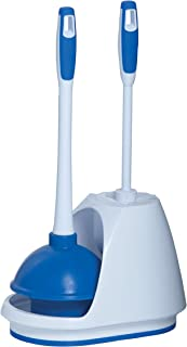 Mr Clean 440436 Combo, White/Blue Plunger and Bowl Brush Caddy Set, Toilet, Turbo Plunger..