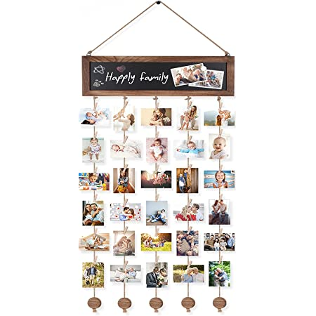 Bikoney Picture Frames Collage Photo Hanging Display Picture Board Wood Rustic Frames for Wall Decor with Blackboard and 30 Clips Fathers Day Gifts Graduation Gift Carbonized Black