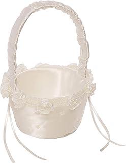 Simplicity Small White Ivory Wedding Flower Girl Basket, 6.8'' W x..