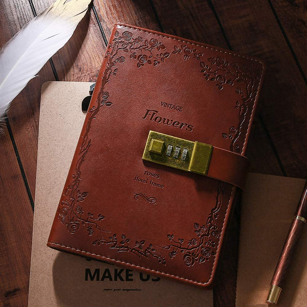 beautiful diary with a lock leather good quality