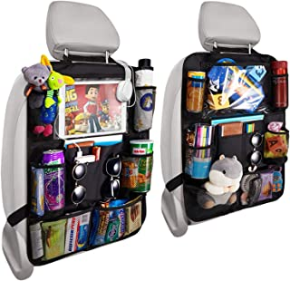 Reserwa Backseat Car Organizer Kick Mats back seat storage bag with Clear Screen Tablet..