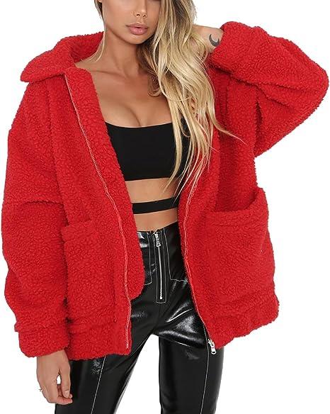 red warm teddy jacket on sale