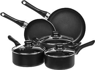AmazonBasics Non-Stick Cookware Set, Pots and Pans – 8-Piece Set