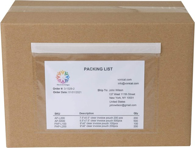 """Vonical 20pcs 20.20""""x20.20"""" Clear Strong Adhesive Label Envelopes, Blank  Envelope Pouch Shipping Label Pockets for Invoice and Packing List UPS  Fedex DHL"""