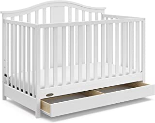 Graco Solano 4-in-1 Convertible Crib with Drawer, White, Easily Converts to Toddler Bed..