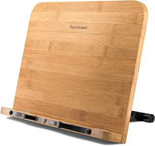 Reodoeer Large BamBoo Book Stand (13 x 9.3 inch) Reading Rest Cookbook Stand Document..