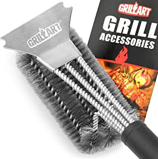 """GRILLART Grill Brush and Scraper Best BBQ Brush for Grill, Safe 18"""" Stainless Steel.."""