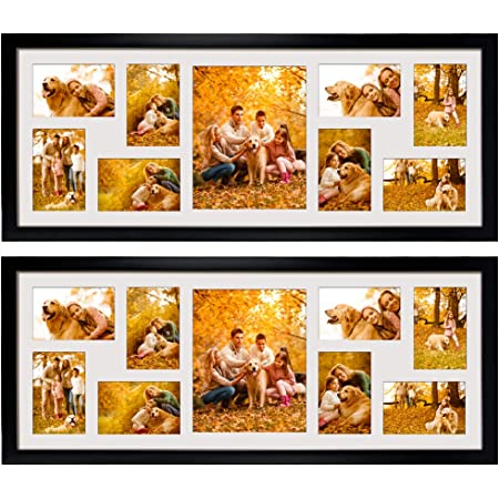 2 Pack 4x6 Picture Frames Collage with 9 Openings, Display Eight 4 x 6 Pictures and One 8x10 Photos for Wall Mounting, Black