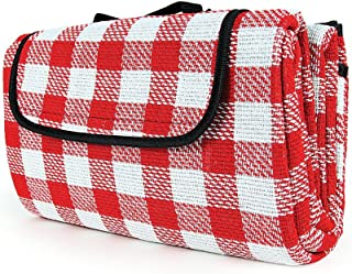 Camco Classic Red & White Checkered Picnic Blanket with Waterproof Backing –..
