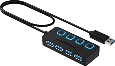 Sabrent 4-Port USB 3.0 Hub with Individual LED Power Switches | 2 Ft Cable | Slim &..