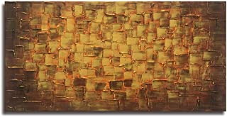 Textured Abstract Squares Canvas Wall Art Hand Painted Modern Golden Yellow Oil Painting..