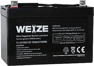 Weize 12V 100AH Deep Cycle AGM SLA VRLA Battery for Solar System RV Camping Trolling..