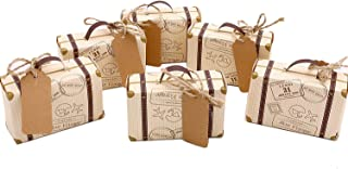 50pcs Mini Suitcase Favor Box Party Favor Candy Box, Vintage Kraft Paper with Tags and..
