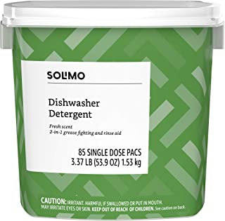 Amazon Brand – Solimo Dishwasher Detergent Pacs, Fresh Scent, 85 Count