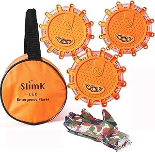 SlimK LED Road Flares Safety Flashing Warning Light Roadside Flare Emergency Discs..